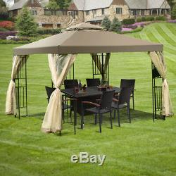 2-Tier 10'x10' Gazebo Canopy Shelter Awning Tent Outdoor withNetting Screw-Free