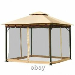2-Tier 10'x10' Gazebo Canopy Tent Shelter Awning Steel Patio Garden Outdoor New