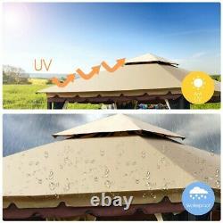 2-Tier 10'x10' Gazebo Canopy Tent Shelter Awning Steel Patio Garden Outdoor Tan