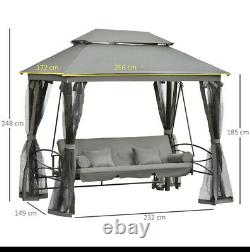 3 Seater Swing Chair Hammock Gazebo Bench Outdoor Cushion