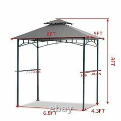 5x8 Grill Gazebo Double Tiered Canopy Outdoor Patio BBQ Tent and Steel Grey