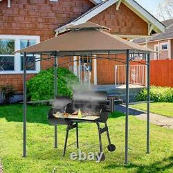 5x8 Grill Gazebo Double Tiered Canopy Outdoor Patio BBQ Tent and Steel Khaki