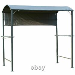 7ft Outdoor Double-tier BBQ Grill Canopy Gazebo with 2 Shelf 5 Hooks