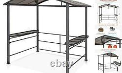 8'x5' BBQ Grill Gazebo Outdoor Backyard Steel Frame Double-Tier Polycarbonate H
