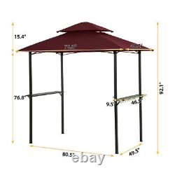 8 x 5 Ft Outdoor Grill Gazebo Canopy Tent Patio BBQ Shelter Double Soft Top Vent