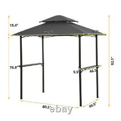 8x5 Ft Grill Gazebo Shelter Outdoor Patio BBQ Tent 2-Tier Canopy with Bar Counters