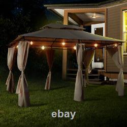 AECOJOY 10' x 13' Outdoor Patio Gazebo 2-Tier Metal Roof Pavilion Canopy Tent