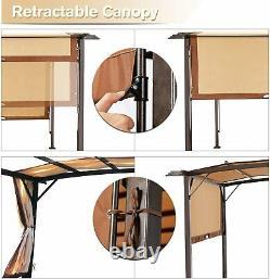 AECOJOY 11.8 X 9.3 Outdoor Pergola Gazebo Retractable Metal Frame Canopy Shade