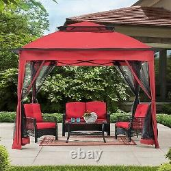 Amazon Basics Outdoor Patio Garden Pop Up Gazebo with Mosquito Net Terra Cotta Red