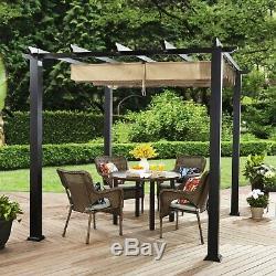 Backyard Pergola 9' x 9' Outdoor Steel Patio Gazebo Tent Adjustable Canopy NEW