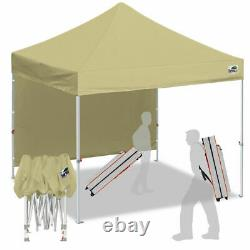 Beige 10x10 Smart Pop Up Canopy Outdoor Event Craft Show Gazebo Party Tent