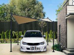 Beige 12 x 12 ft Square Steel Canopy Outdoor Garden Backyard Gazebo Tent