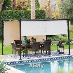 Belham Living Steel Outdoor Pergola Gazebo with Retractable Canopy Shades