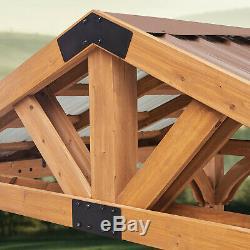 Brookdale Outdoor Gazebo 120V Outlets Cedar Wood Dent-Resistant Steel Roof (DIY)