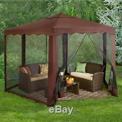 Brown 13' Wide Hexagon Gazebo Outdoor Home Patio Furniture