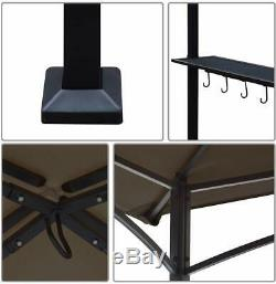 Brown 8'x 5' BBQ Grill Gazebo Barbecue Canopy Outdoor Yard Shade Tent withAir Vent