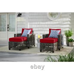 Brown Wicker Outdoor Patio Chaise Lounge with Cushionguard Chili Red Cushions