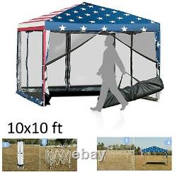 Canopy Tent 10x10 Outdoor Party Gazebo With Wall American Flag Pattern Carry Bag