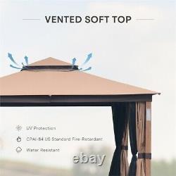 Cloud Mountain 10x12 Gazebo Canopy Soft Top Outdoor Gazebo Tent in Khaki