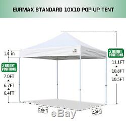 EZ Pop Up Canopy 10' x10' Outdoor Instant Portable Patio Gazebo Tent Shelter