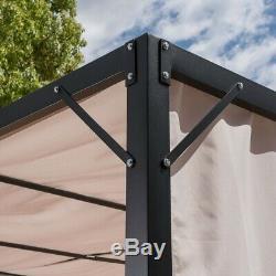 Fast Furnishings Heavy Duty Steel Frame Outdoor Gazebo Pergola with Beige Fab