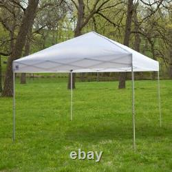 Fast Furnishings White 10-Ft x 10-Ft Outdoor Canopy Tent Gazebo with Steel Fr
