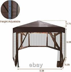 Folding Hexagon Gazebo Outdoor Wedding Party Tent Backyard Shelter Garden Canopy