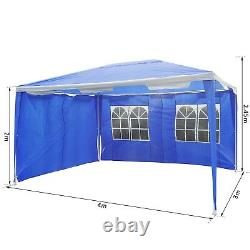 Garden Gazebo Outdoor Canopy Marquee Party Tent Shelter Blue 4 x 3 m