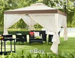 Garden Gazebo Steel Frame Outdoor Tent Mosquito Net Screen Shade Beige Canopy