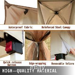 Gazebo Canopy 12'x12' Pop Up Tent Mesh Mosquito Net Patio Solar LED Outdoor