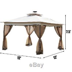 Gazebo Canopy 12'x12' Pop Up Tent Mesh Mosquito Net Patio Solar LED Outdoor