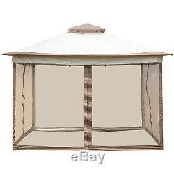 Gazebo Canopy 12'x12' Pop Up Tent Mesh Mosquito Net Patio Steel Fabric Outdoor