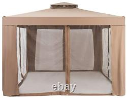 Gazebo Canopy Backyard Party Tent Shelter Outdoor Curtains Nets Bronze Square