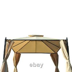 Gazebo Double-tier 10ft×10ft Shelter Shade Awning Canopy Patio Curtain Outdoor