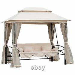 Gazebo Garden Swing 3 Person Seater Cushion Bench Convertible Bed Canopy White