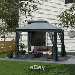 Gazebo Outdoor 10 Ft. W x 10 Ft. D Steel Patio Rust Resistant Backyard Garden