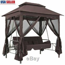 Gazebo Swing Chair Coffee Garden Outdoor Porch Seat Hammock Backyard Furniture R
