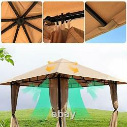 Gazebos for Patios Single Roof Gazebo with Curtains, Outdoor Shade Canopy