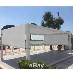 Gray 8' x 9' Outdoor Pergola Gazebo with Sun Shades, Patio Steel Canopy Shades