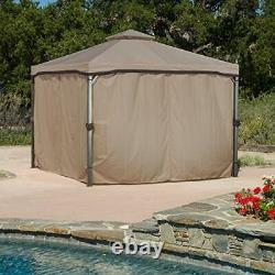 Great Deal Furniture Sonoma Outdoor Fabric/Steel Gazebo Canopy in Light B