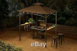 Grill BBQ Gazebo Canopy Outdoor Sun Shade 4 LEDs Patio Backyard Portable 8' X 5