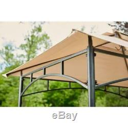 Hampton Bay Outdoor Patio Grill Gazebo 8 ft. X 5 ft. Canopy Roof Brown