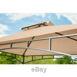 Hampton Bay Outdoor Patio Grill Gazebo 8 Ft X 5 Ft Canopy Roof Brown