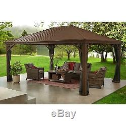 Hardtop Gazebo Pavilion LARGE 12 x 16 ft Netting Outdoor Patio Galvanized Steel