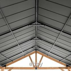 Heavy Duty Gazebo Metal Hardtop Roof Outdoor Garden Pergola Patio Yard 10x12 ft