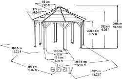 Heavy Duty Metal Gazebo Hardtop Roof Outdoor Patio Garden Shade Pergola 12x12 ft