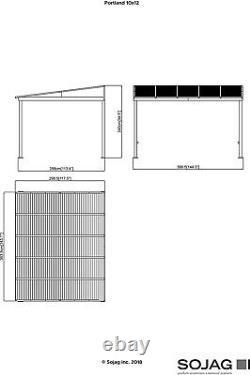 Heavy Duty Metal Gazebo Wall Mount Kit Outdoor Sun Shade Shelter Pergola 10x12ft
