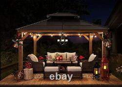 Heavy Duty Wood Gazebo Metal Roof Outdoor Patio Garden Shade Pergola 10x12 ft