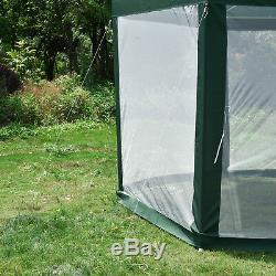 Hexagonal Patio Gazebo Outdoor Canopy Party Tent Event with Mosquito Net Green