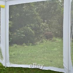Hexagonal Patio Gazebo Outdoor Canopy Party Tent Event with Mosquito Net White